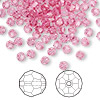Bead, Swarovski crystal, Crystal Passions®, rose, 4mm faceted round (5000). Sold per pkg of 144 (1 gross).