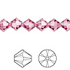 Bead, Swarovski crystal, Crystal Passions®, rose, 8mm Xilion bicone (5328). Sold per pkg of 12.