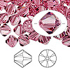 Bead, Swarovski crystal, Crystal Passions®, rose, 8mm Xilion bicone (5328). Sold per pkg of 72.