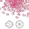 Bead, Swarovski crystal, Crystal Passions®, rose AB, 4mm Xilion bicone (5328). Sold per pkg of 48.