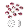 Bead, Swarovski crystal, Crystal Passions®, rose, foil back, 6x2mm faceted marguerite lochrose flower (3700). Sold per pkg of 144 (1 gross).