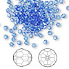 Bead, Swarovski crystal, Crystal Passions®, sapphire, 3mm faceted round (5000). Sold per pkg of 144 (1 gross).