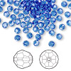 Bead, Swarovski crystal, Crystal Passions®, sapphire, 4mm faceted round (5000). Sold per pkg of 144 (1 gross).