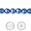 Bead, Swarovski crystal, Crystal Passions®, sapphire, 8mm faceted round (5000). Sold per pkg of 12.