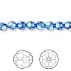 Bead, Swarovski crystal, Crystal Passions®, sapphire AB, 6mm faceted round (5000). Sold per pkg of 12.