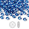 Bead, Swarovski crystal, Crystal Passions®, sapphire, foil back, 6x2mm faceted marguerite lochrose flower (3700). Sold per pkg of 144 (1 gross).