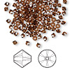 Bead, Swarovski crystal, Crystal Passions®, smoked topaz, 3mm Xilion bicone (5328). Sold per pkg of 144 (1 gross).