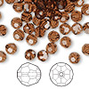 Bead, Swarovski crystal, Crystal Passions®, smoked topaz, 6mm faceted round (5000). Sold per pkg of 144 (1 gross).