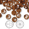Bead, Swarovski crystal, Crystal Passions®, smoked topaz, 8mm faceted round (5000). Sold per pkg of 144 (1 gross).