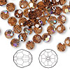 Bead, Swarovski crystal, Crystal Passions®, smoked topaz AB, 6mm faceted round (5000). Sold per pkg of 144 (1 gross).