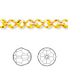 Bead, Swarovski crystal, Crystal Passions®, sunflower, 6mm faceted round (5000). Sold per pkg of 360.
