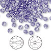 Bead, Swarovski crystal, Crystal Passions®, tanzanite, 4mm faceted round (5000). Sold per pkg of 144 (1 gross).