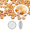 Bead, Swarovski crystal, Crystal Passions®, topaz, 6x2mm faceted marguerite lochrose flower (3700). Sold per pkg of 144 (1 gross).
