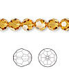 Bead, Swarovski crystal, Crystal Passions®, topaz, 8mm faceted round (5000). Sold per pkg of 12.