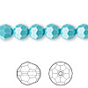 Bead, Swarovski crystal, Crystal Passions®, turquoise, 8mm faceted round (5000). Sold per pkg of 12.