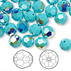 Bead, Swarovski crystal, Crystal Passions®, turquoise AB, 8mm faceted round (5000). Sold per pkg of 144 (1 gross).