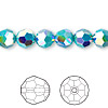 Bead, Swarovski crystal, Crystal Passions®, turquoise AB2X, 8mm faceted round (5000). Sold per pkg of 12.