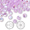 Bead, Swarovski crystal, Crystal Passions®, violet AB, 6mm faceted round (5000). Sold per pkg of 144 (1 gross).