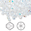 Bead, Swarovski crystal, Crystal Passions®, white opal AB, 4mm Xilion bicone (5328). Sold per pkg of 48.