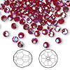 Bead, Swarovski crystal, Siam AB2X, 4mm faceted round (5000). Sold per pkg of 144 (1 gross).