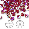 Bead, Swarovski crystal, Siam AB2X, 6mm faceted round (5000). Sold per pkg of 144 (1 gross).