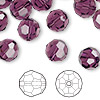 Bead, Swarovski crystal, amethyst, 10mm faceted round (5000). Sold per pkg of 144 (1 gross).