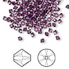 Bead, Swarovski crystal, amethyst, 3mm Xilion bicone (5328). Sold per pkg of 48.
