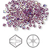 Bead, Swarovski crystal, amethyst AB, 3mm Xilion bicone (5328). Sold per pkg of 1,440 (10 gross).