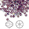 Bead, Swarovski crystal, amethyst AB, 4mm Xilion bicone (5328). Sold per pkg of 1,440 (10 gross).