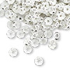 Bead, Swarovski crystal and plastic, Crystal Passions®, crystal clear and white, 5x2.5mm mini rondelle. Sold per pkg of 12.