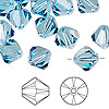 Bead, Swarovski crystal, aquamarine, 10mm Xilion bicone (5328). Sold per pkg of 144 (1 gross).