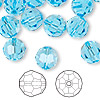 Bead, Swarovski crystal, aquamarine, 10mm faceted round (5000). Sold per pkg of 144 (1 gross).