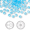 Bead, Swarovski crystal, aquamarine, 4mm faceted round (5000). Sold per pkg of 720 (5 gross).