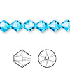 Bead, Swarovski crystal, aquamarine, 8mm Xilion bicone (5328). Sold per pkg of 72.