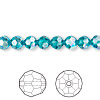 Bead, Swarovski crystal, blue zircon AB, 6mm faceted round (5000). Sold per pkg of 12.