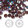 Bead, Swarovski crystal, burgundy AB, 6mm faceted round (5000). Sold per pkg of 144 (1 gross).