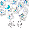 Bead, Swarovski crystal, crystal AB, 12x12mm faceted star (5714). Sold per pkg of 108.