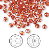 Bead, Swarovski crystal, crystal red magma, 4mm faceted round (5000). Sold per pkg of 144 (1 gross).