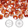 Bead, Swarovski crystal, crystal red magma, 8mm faceted round (5000). Sold per pkg of 144 (1 gross).