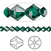 Bead, Swarovski crystal, emerald, 5mm Xilion bicone (5328). Sold per pkg of 24.