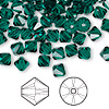 Bead, Swarovski crystal, emerald, 6mm Xilion bicone (5328). Sold per pkg of 144 (1 gross).