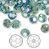 Bead, Swarovski crystal, erinite AB, 8mm faceted round (5000). Sold per pkg of 144 (1 gross).
