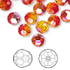 Bead, Swarovski crystal, fireopal AB, 8mm faceted round (5000). Sold per pkg of 144 (1 gross).