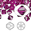 Bead, Swarovski crystal, fuchsia, 8mm Xilion bicone (5328). Sold per pkg of 72.