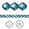 Bead, Swarovski crystal, indicolite, 5mm Xilion bicone (5328). Sold per pkg of 144 (1 gross).