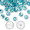 Bead, Swarovski crystal, indicolite AB, 6mm faceted round (5000). Sold per pkg of 144 (1 gross).