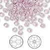 Bead, Swarovski crystal, light amethyst, 4mm faceted round (5000). Sold per pkg of 144 (1 gross).
