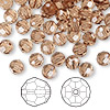 Bead, Swarovski crystal, light smoked topaz, 6mm faceted round (5000). Sold per pkg of 144 (1 gross).