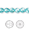 Bead, Swarovski crystal, light turquoise, 8mm faceted round (5000). Sold per pkg of 288 (2 gross).