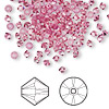 Bead, Swarovski crystal, rose, 3mm Xilion bicone (5328). Sold per pkg of 1,440 (10 gross).